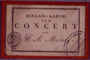 A 1782 ticket for a Mozart concert in Vienna...