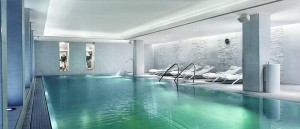 The indoor pool at @RitzCarlton Vienna plays underwater music for guests to enjoy during their evening swim.