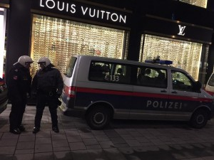 At #nowkr protest Vienna TT @msulzbacher Police in front of Louis Vuitton and Prada