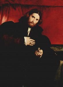 Lorenzo Lotto. Porträt eines Edelmannes mit Löwentatze. Um 1527, Öl auf Holz, 96 × 70cm.Wien, Kunsthistorisches Museum.Italien.Renaissance....
