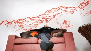 #relaxing in front of new #mural commissioned by #Arlberg_Hospiz ***** #St_Christoph
