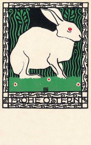 Josef Diveky, Happy Easter Postcard, 1908. For Wiener Werkstätte, Vienna.