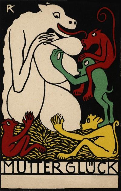 Wiener Werkstätte. Postkarte. Rudolf Kalvach, Joys of Motherhood 1907.(vía ART & ARTISTS: Wiener Werkstätte postcards – part...