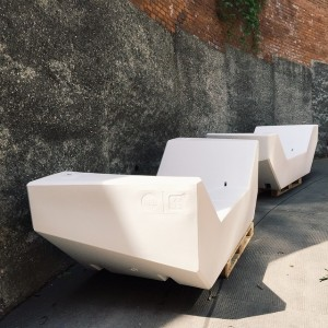 White MQ furniture for a day! Tomorrow artists will start working on them for the EUROART IM...