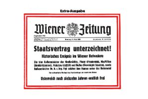 60 Jahre #Staatsvertrag : Das Faksimile der Wiener Zeitung vom 15. Mai 1955.