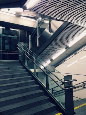As inevitable as the Donaukanal sunset: Schottenring staircase pic. #architecture #Wien #Vienna Schottenring U-Bahn