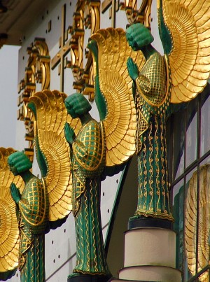 Detail of the facade of Kirche am Steinhof, a church on the grounds of a psychiatric hospital…(in...