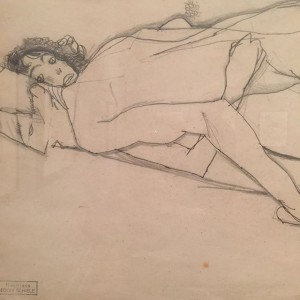 A detail of one of the drawings by Egon Schiele in the