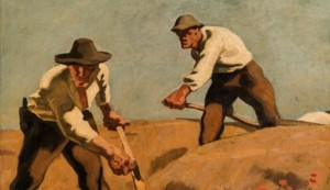 This painting 'Drei Schnitter' by Albin Egger-Lienz from 1921 is part of the upcoming auction at the...