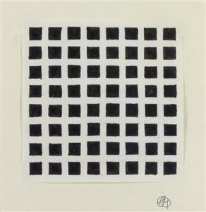 Entwurf mit Quadratmuster, Josef Hoffmann, Wien um 1930, Bleistift Feder Tusche auf Papier, monogrammiert auf dem Passepartout...