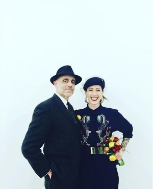 Gerald et beautiful Coco. #itsfriday #opening #arts #cocowasabi #geraldmatt #vienna #contemporaries #hilgernext #flowery #portrait