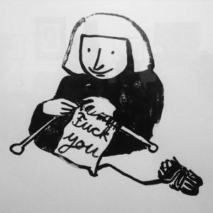 F*** you. #drawing #art #exhibition #opening #burggasse98 #bw_vienna #vie #vienna #igersvienna #igersaustria #oxymoron #knitting Oxymoron