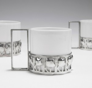 Josef Hoffmann, Mocha cup, 1909. Silver, open pattern. Made for Wiener Werkstätte, Vienna. Via Quittenbaum