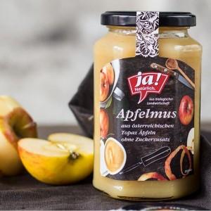 Unser neues Bio-Apfelmus im Glas: Aus regionalen Topaz-Äpfeln, ohne Zuckerzusatz, ohne Zusatzstoffe, schonend verarbeitet.