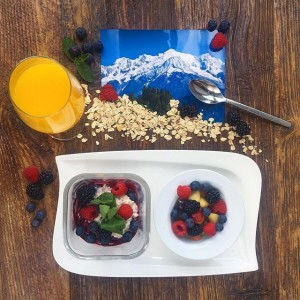 Climb every mountain🏔 Breakfast Mont Blanc- Yoghurt mixed with muesli, covered in fresh fruits🍏🍓🍇 & served with...