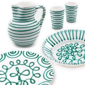 RIPPLE EFFECT Green Ripple Tableware, produced in Austria by Gmundner Keramik. Earthenware hand-painted with a traditional 17th-century...