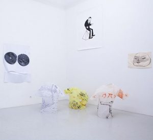 "Installationview of the exhibition ""Toons Like Us (Reprise)"" with Henning Bohl, Jakob Breit, Daniel Ferstl, Sophie Gogl,..."