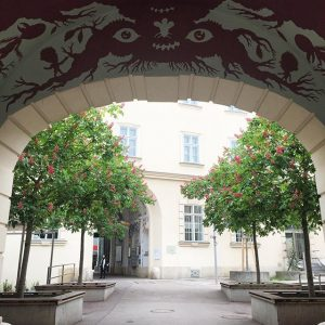 never get bored seeing this figure and blossom of horse chestnuts MQ – MuseumsQuartier Wien