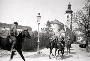 Russian Cossack patrols on the streets of Vienna, 1945