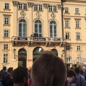 The Royal family attends the balcony to greet the WordPress community #WCEU MQ – MuseumsQuartier Wien
