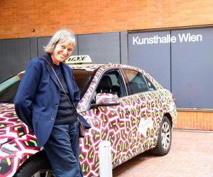 Nathalie #DuPasquier with one of the taxis she designed skins for. If you spot one of them...