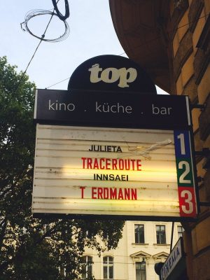 Traceroute sign at Top Kino, Vienna.