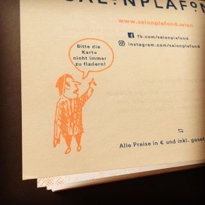 detail from our @salonplafond evening menus. it says: please dont always steal our menus. true fact -...