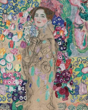 A detail of Gustav Klimt's sensuous portrait of Ria Munk from 1917, the artist's third attempt to...