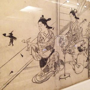 #Shunga #EroticArt from #Japan at @mak_vienna #Sukenobu #courtesans entertain a man with #music and #shadowplay #cliententertainment #pleasurequarters...