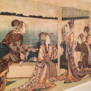 #Shunga #EroticArt from #Japan at @mak_vienna #Hokusai #Yokonagaban (#colour #woodblock #print) #courtesans gathered in the #teahouse #veranda...