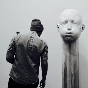 When you get caught having a discussion with your shoulder devil. Art Vienna. #kunst #contemporary #bildhauer #sculpture...