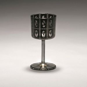 "Josef Hoffmann, Wine glass, ""Schwarzbronzit Var. F"", 1911, crystal glass with black broncit decor, wall surface divided..."