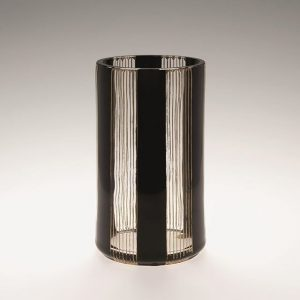 Cylindrical vase, colorless glass with black stripes and gold decoration, K. k. Fachschule für Glasindustrie Haida, before...
