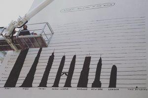 Highest buldings in the world - humerous #public wall #drawings #art by #AldoGiannotti - in progress #gumpendorfer...