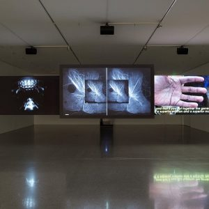 Installation view of #HannahBlack's 'Beginning, End, None' for 'Small Room' solo exhib at Vienna's #mumok, running to...