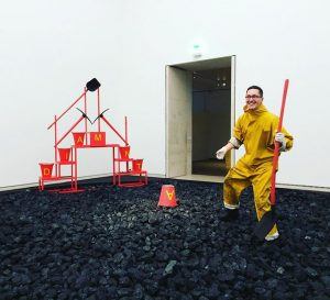 I got in and dug some coal just to be a part of this exhibit for a...