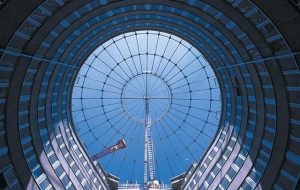 Apartment Building Gasometer B, Vienna, Austria (1995–2001). The lighting for the inside spaces is provided by the...