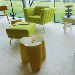 Our PLOUF armchair and pouffe, design by @studioinekehans, are vibrant eye-catchers in her expo 'Was ist Loos?...
