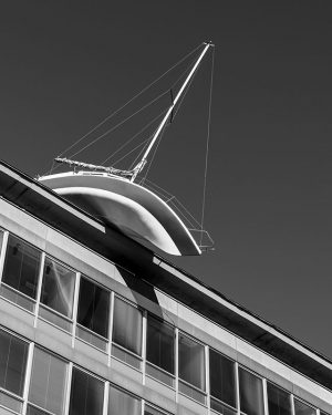 Looking up photograpers sometimes get rewarded by a sailboat on a rooftop! Artwork by Erwin Wurm on...