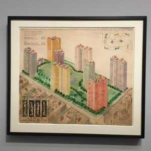 "Josef Frank's ""Slum Clearance"" project for New York in 1942. The design was rejected as the city..."