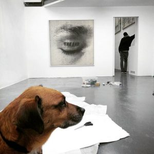 Installing... #new #exhibition @unttldcontemporary #work #workingdog #dog #dogofinstagram #reddog #schleifmühlgasse #gallery #art #timmulrichs ...