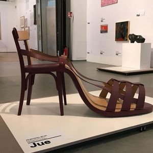 "During my walk through #aestheticsofthechange at #makvienna I found some interesting chairs. Like the ""Shoechair"" of artist/feminist..."