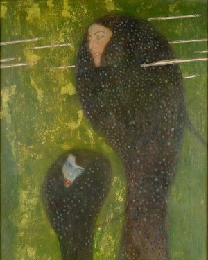 This wonderful artwork was a milestone in Gustav Klimt's development. His two-dimensional figures in this painting are...
