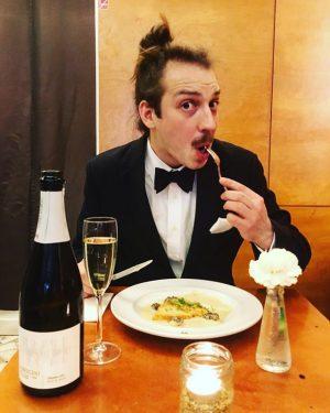 Beer somelier turner enjoys his staff - lunch: one bottle of champagne, grilled char filet on morel...