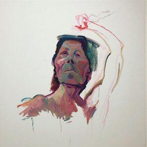 Unfinished last Painting, Self-Portrait with Brush #marialassnig #selfportrait #unfinished