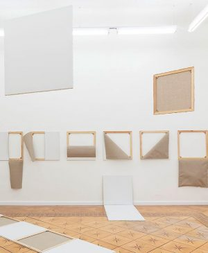 On view at Croy Nielsen: Albert Mertz, Dekonstruktion af maleriets møblement, 1974, installation view. The main-feature of...