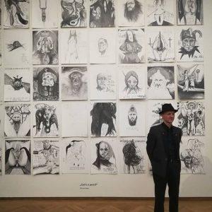 El artista Thomas Palme con su obra. Mañana inaugura exposición conjunta con Egon Schiele y Günter Brus....