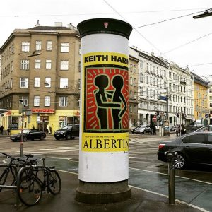 Vienna plastered in Keith Haring announcements on Litfass columns ahead of tomorrow's opening at Albertina Museum. Advertising...