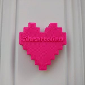 Spottet at @mqwien, #3dprinting #Wienliebe by #q21 #artist in residence Markus Vogel. #igersvienna #museumsquartier #heart #pink #door...