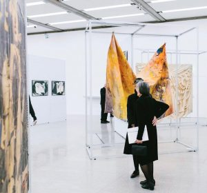In the center, you can see a work by Sam Gilliam, who is best known for the...